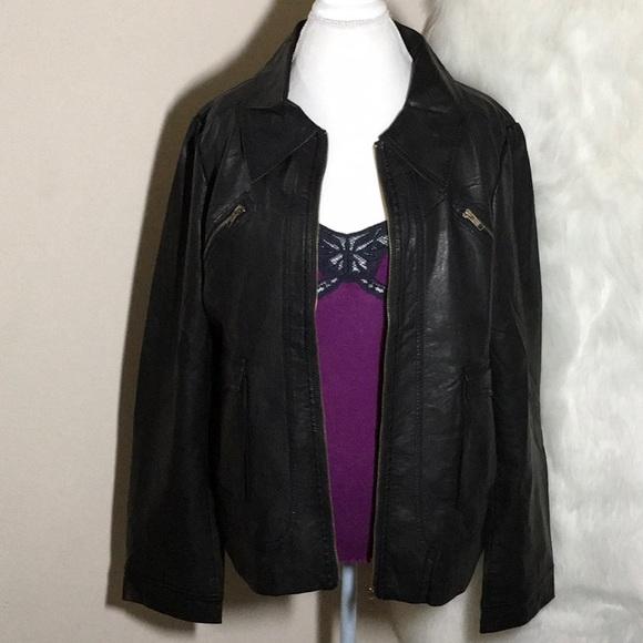 269122b92c5 HARVE BENARD Faux Leather Moto Jacket Size L NWOT